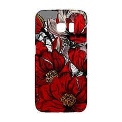 Red Flowers Pattern Galaxy S6 Edge