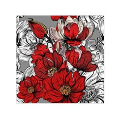 Red Flowers Pattern Small Satin Scarf (square)