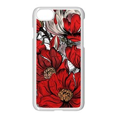 Red Flowers Pattern Apple Iphone 7 Seamless Case (white)