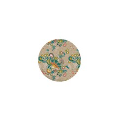 Hand Drawn Batik Floral Pattern 1  Mini Magnets