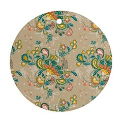 Hand Drawn Batik Floral Pattern Ornament (round)