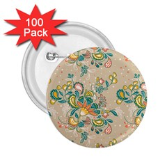 Hand Drawn Batik Floral Pattern 2 25  Buttons (100 Pack)