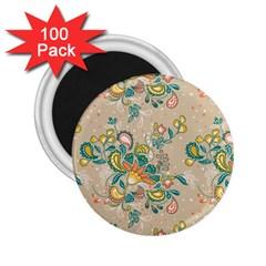 Hand Drawn Batik Floral Pattern 2 25  Magnets (100 Pack)