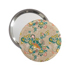 Hand Drawn Batik Floral Pattern 2 25  Handbag Mirrors