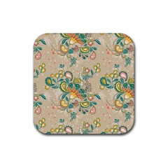 Hand Drawn Batik Floral Pattern Rubber Square Coaster (4 Pack)