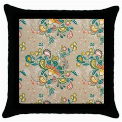 Hand Drawn Batik Floral Pattern Throw Pillow Case (black)