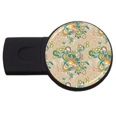 Hand Drawn Batik Floral Pattern Usb Flash Drive Round (4 Gb)