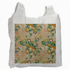 Hand Drawn Batik Floral Pattern Recycle Bag (one Side)