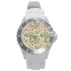Hand Drawn Batik Floral Pattern Round Plastic Sport Watch (l)
