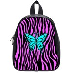 Zebra Stripes Black Pink   Butterfly Turquoise School Bags (Small)  Front