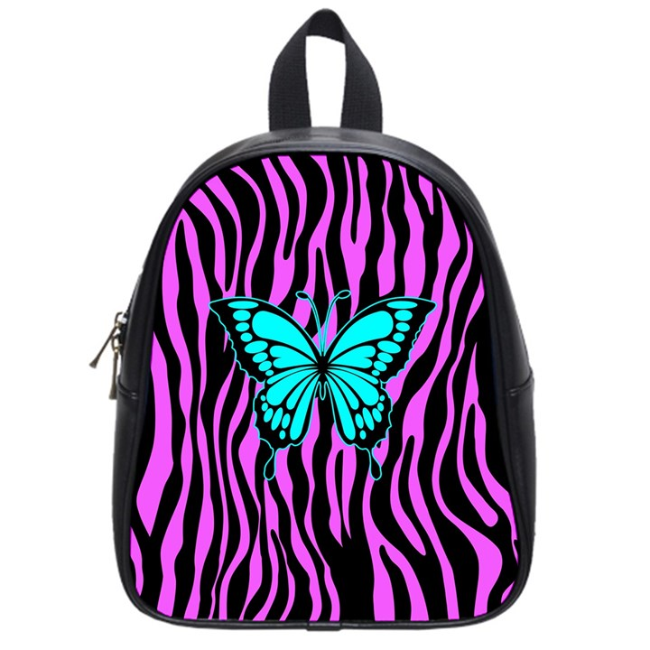 Zebra Stripes Black Pink   Butterfly Turquoise School Bags (Small)