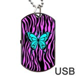 Zebra Stripes Black Pink   Butterfly Turquoise Dog Tag USB Flash (Two Sides) Front