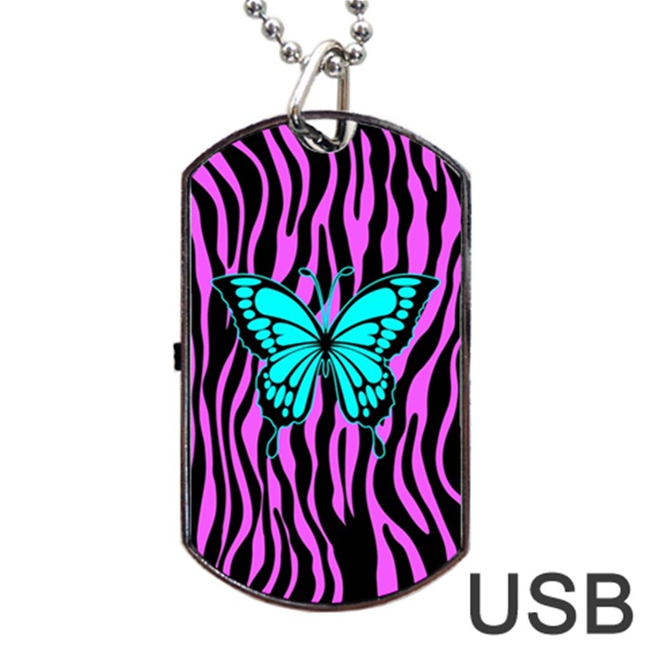 Zebra Stripes Black Pink   Butterfly Turquoise Dog Tag USB Flash (Two Sides)