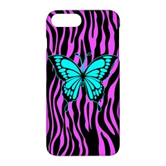 Zebra Stripes Black Pink   Butterfly Turquoise Apple Iphone 7 Plus Hardshell Case