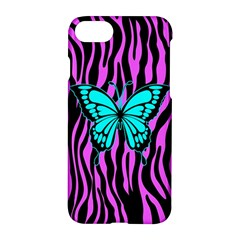 Zebra Stripes Black Pink   Butterfly Turquoise Apple Iphone 7 Hardshell Case