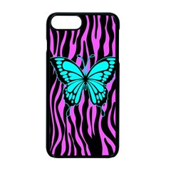 Zebra Stripes Black Pink   Butterfly Turquoise Apple Iphone 7 Plus Seamless Case (black)