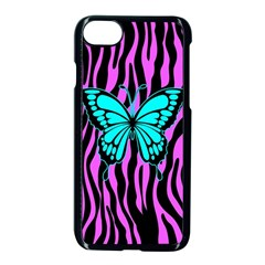 Zebra Stripes Black Pink   Butterfly Turquoise Apple Iphone 7 Seamless Case (black)