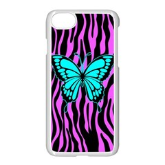 Zebra Stripes Black Pink   Butterfly Turquoise Apple Iphone 7 Seamless Case (white)