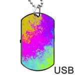Grunge Radial Gradients Red Yellow Pink Cyan Green Dog Tag USB Flash (Two Sides) Front