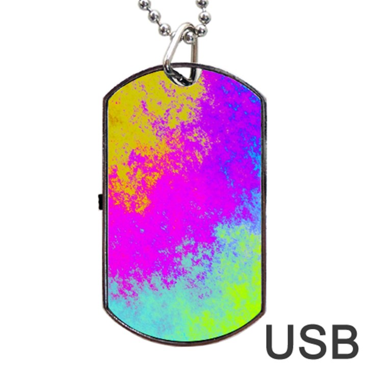 Grunge Radial Gradients Red Yellow Pink Cyan Green Dog Tag USB Flash (Two Sides)