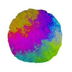 Grunge Radial Gradients Red Yellow Pink Cyan Green Standard 15  Premium Flano Round Cushions