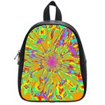 Magic Ripples Flower Power Mandala Neon Colored School Bags (Small)  Front