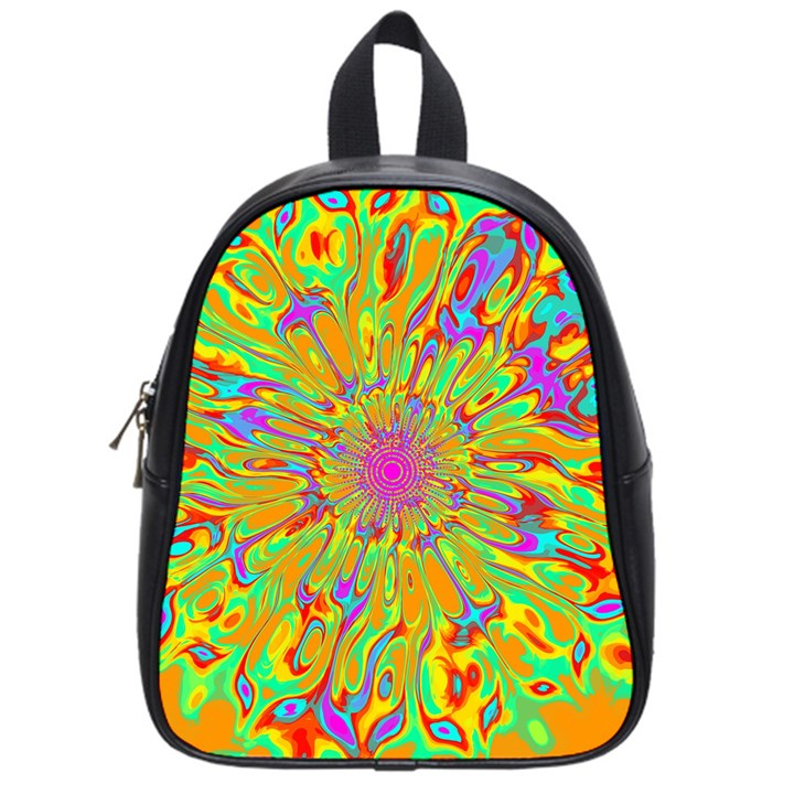 Magic Ripples Flower Power Mandala Neon Colored School Bags (Small)