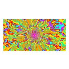Magic Ripples Flower Power Mandala Neon Colored Satin Shawl