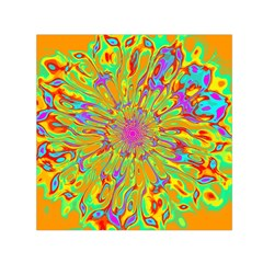 Magic Ripples Flower Power Mandala Neon Colored Small Satin Scarf (square)