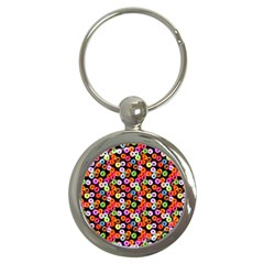 Colorful Yummy Donuts Pattern Key Chains (round)