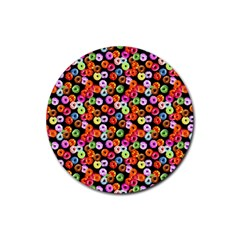 Colorful Yummy Donuts Pattern Rubber Coaster (round)