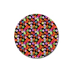 Colorful Yummy Donuts Pattern Magnet 3  (round)