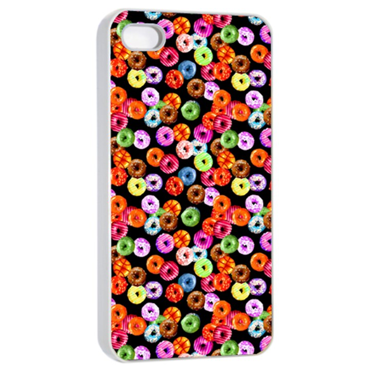 Colorful Yummy Donuts Pattern Apple iPhone 4/4s Seamless Case (White)