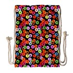 Colorful Yummy Donuts Pattern Drawstring Bag (Large) Front