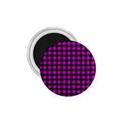 Lumberjack Fabric Pattern Pink Black 1.75  Magnets