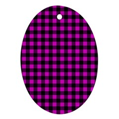 Lumberjack Fabric Pattern Pink Black Ornament (Oval)