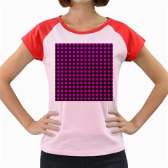Lumberjack Fabric Pattern Pink Black Women s Cap Sleeve T-Shirt