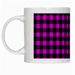 Lumberjack Fabric Pattern Pink Black White Mugs