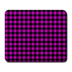 Lumberjack Fabric Pattern Pink Black Large Mousepads