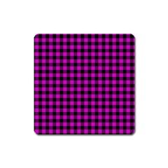 Lumberjack Fabric Pattern Pink Black Square Magnet