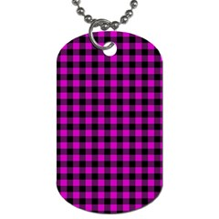 Lumberjack Fabric Pattern Pink Black Dog Tag (Two Sides)