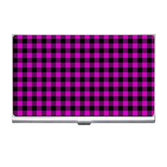 Lumberjack Fabric Pattern Pink Black Business Card Holders
