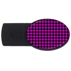 Lumberjack Fabric Pattern Pink Black USB Flash Drive Oval (1 GB)