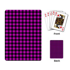 Lumberjack Fabric Pattern Pink Black Playing Card