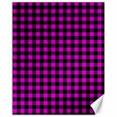 Lumberjack Fabric Pattern Pink Black Canvas 16  x 20