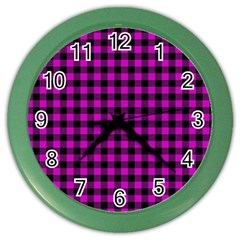 Lumberjack Fabric Pattern Pink Black Color Wall Clocks