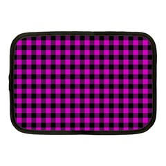 Lumberjack Fabric Pattern Pink Black Netbook Case (Medium)
