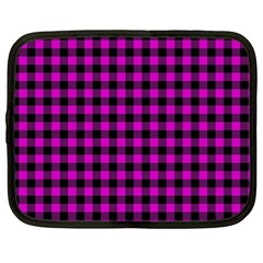 Lumberjack Fabric Pattern Pink Black Netbook Case (XL)