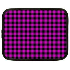 Lumberjack Fabric Pattern Pink Black Netbook Case (XXL)