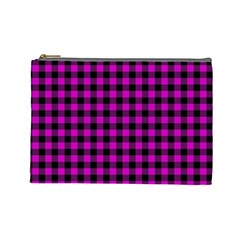 Lumberjack Fabric Pattern Pink Black Cosmetic Bag (Large)
